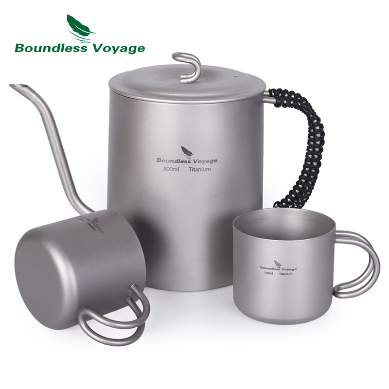 Boundless Voyage Titanium Kettle Cup Set with Anti scalding Handle for Wine Coffee Tea Sake Mug