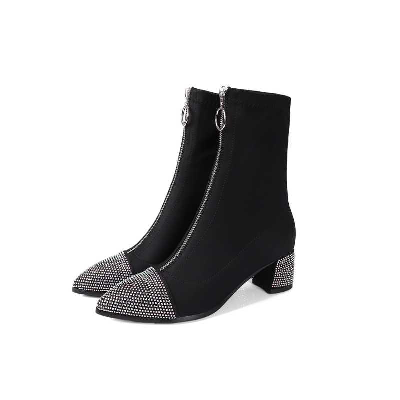 2018 jesień nowy fashionshoes buty damskie stretch botki pointed toe lycra kobiety botki na obcasie czarna róża czerwony damskie buty