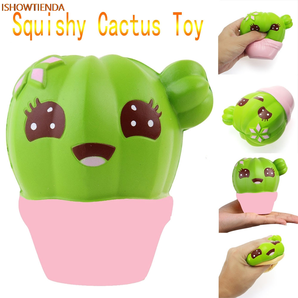 Cactus Cream Scented Squishy Slow Rising Squeeze Strap Kids Stress Relief Reliever Squishy Toy Hot