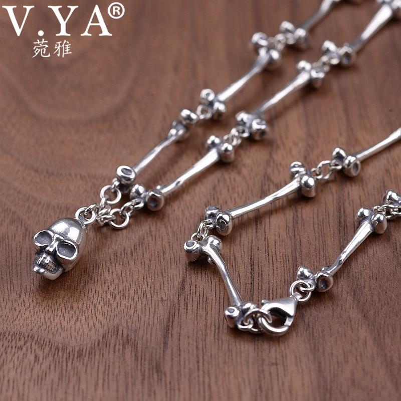 V YA 59CM Skull Pendants Necklaces 925 Sterling Silver Long Chain Necklace for Men Male Retro