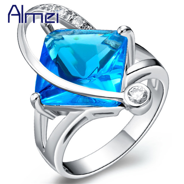 Almei USA Sale 2017 Square Ring With Red/Blue/Purple Stones Crystal Jewelery Rings for Women Silver Color Jewelry My Orders J353