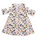 Оптовая цена, высокое качество, эксклюзивное переделанное платье, модное летнее платье для девочек из полиэстера и хлопка, детская одежда с оборками - фото