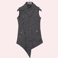 Thickening Warm Double Breasted Mens Casual Coat Wear Wool Edge Designers Sleeveless Long Vest Waistcoat Mens Tops Jacket Outwer