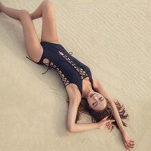 2018 Solid Black Women One Piece Sexy Swimsuit Cross Hollow Lacing Triangle Bottom Monokini Lady Beachwear Slim Bathing Suit