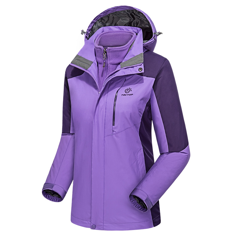 TECTOP Outdoor Women Winter 3 in 1 Hiking Jackets Female Waterproof Windproof Thermal Two-piece Traveling Skiing Coats
