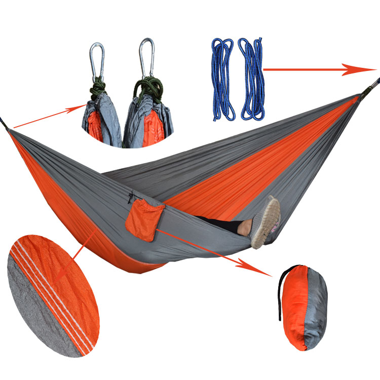Assorted Color Hanging Sleeping Bed Parachute Nylon Fabric Outdoor Camping Hammocks Double Person Portable Hammock Swing Bed thicken canvas single camping hammock outdoors durable breathable 280x80cm hammocks like parachute for traveling bushwalking