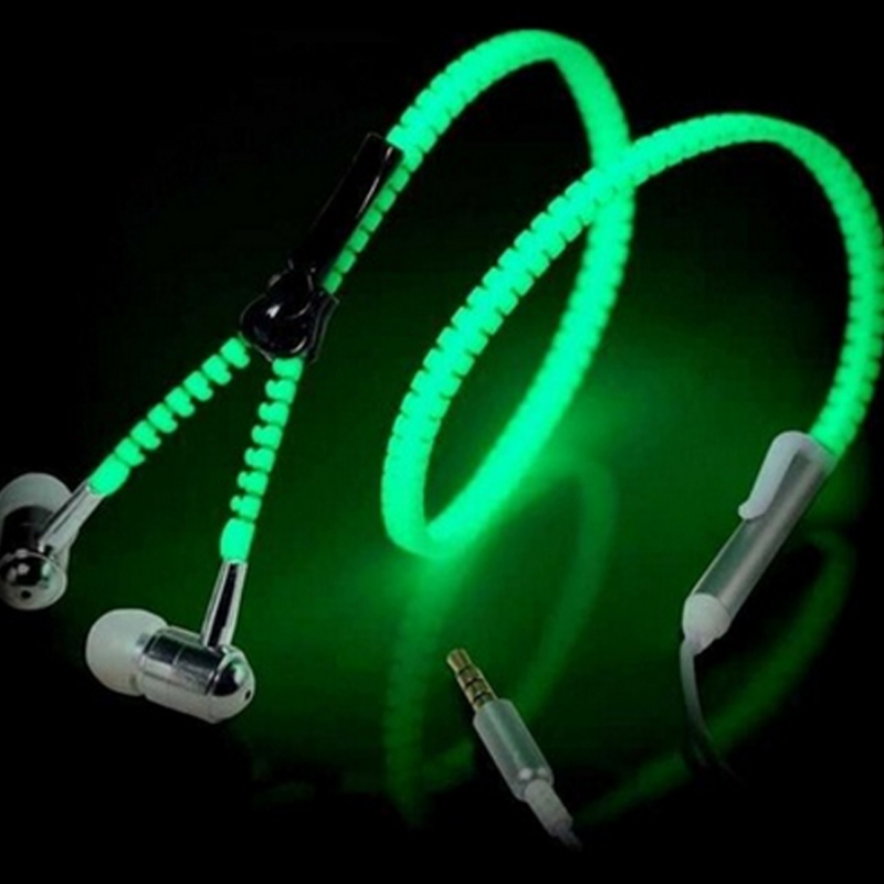 Fashion Sports Earphones Headset Luminous Light Glow in the Dark Metal Zipper Earphone with Mic for Mobile Phone Kill Monk гарнитура skullcandy ink d with mic dark red s2ikhy 481