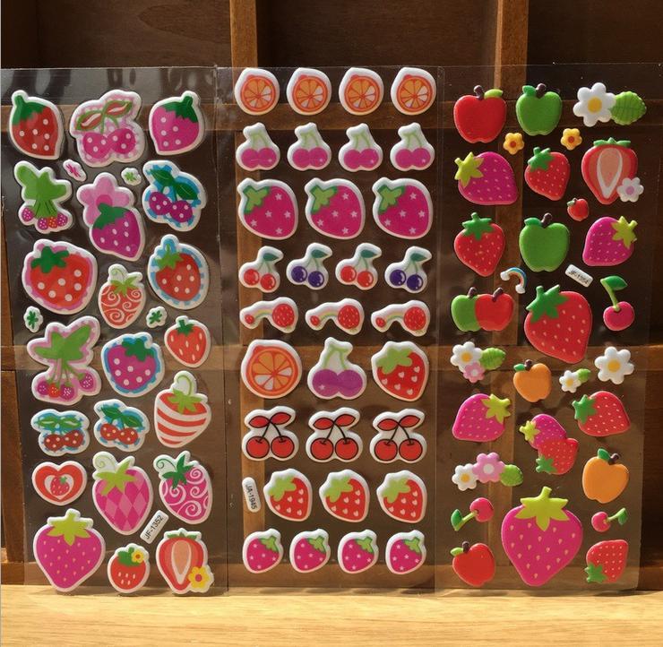 Krachtig Heet Verkoop 5 Pcs Speciale Speelgoed Stickers Scrapbooking Bubble Gezwollen Stickers Kawaii Vruchten Aardbei Kids Kinderen Gratis Verzending Yyy