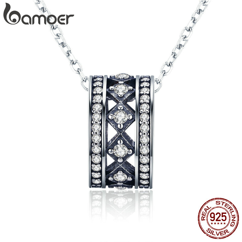 BAMOER Authentic 925 Sterling Silver Vintage Fascination, Clear CZ Pendant Necklace for Women Sterling Silver Jewelry SCN231 perry ellis spirited туалетная вода 100 мл