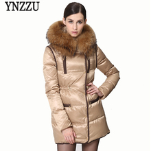 2017 New Winter Jacket Women Real Raccoon Fur Collar Hooded Down Coats Chic Women Parkas Thickening Warm Girls Down Coat AO314