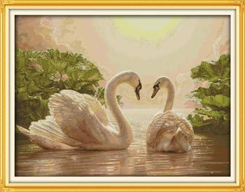 Two Swans (2) DMC China Cross Stitch Cotton 14CT 11CT DIY Needlework Counted   Cross stitch Kits Fabric For Embroidery Crafts