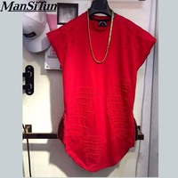 2017 Newest Mens Curved Hem Ripped Tee Shirts Fashion Destroyed Extended Zipper T Shirt Longline T