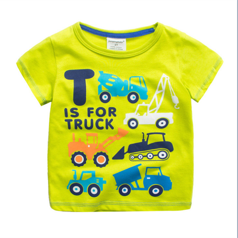 2018 Jumping baby t shirts for boys cotton children clothing with printed cars cartoon fashion kids boy tops summer tees цена и фото