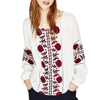 2017 white women Blouse Cotton floral embroidered shirt turn down collar lantern long sleeve loose Casual chic Women's Blouses