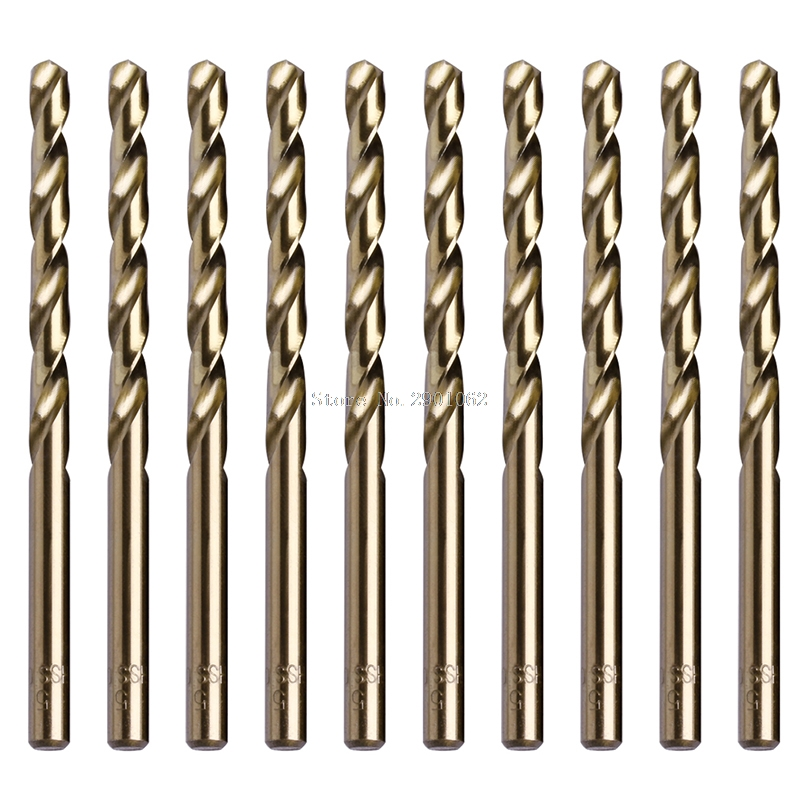 10Pcs/Set 5mm M35 Triangle Shank HSS-Co Cobalt Twist Drill Spiral Drill Bit -B119 13pcs lot hss high speed steel cobalt drill bit set 1 5 6 5mm twist drills for thick iron and aluminum 3% co