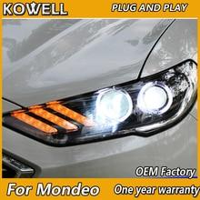 KOWELL Car Styling dla Mondeo reflektory 2016 2017 2018 Fusion LED reflektor oryginalny DRL soczewki biksenonowe wysoka martwa wiązka Parking