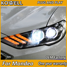 KOWELLรถจัดแต่งทรงผมสำหรับMondeoไฟหน้า 2016 2017 2018 Fusion LEDไฟหน้าเดิมDRL Bi Xenonเลนส์High Beamที่จอดรถ