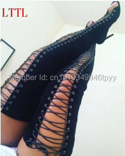 Hot sale Women Gladiator Thigh High Boots Peep Toe High Heels Cut-outs Lace-up Boots Fashion Women Shoes