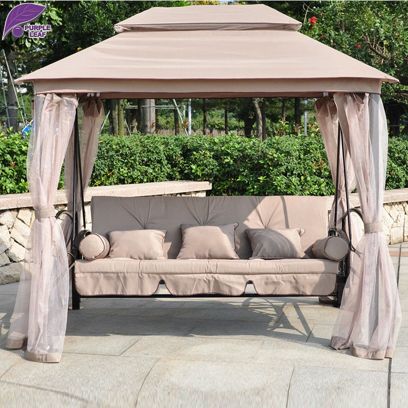 PURPLE LEAF Garden Tent Swing Bed Retro Rocking Chair Furniture With Gauze Pillow And Cushion