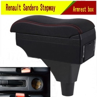 For Renault Sandero Stepway armrest box central Store content box with cup holder ashtray decoration products With USB interfac