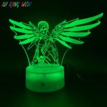 3D LED Night Light Game Overwatch Mercy Figure Nightlight Child Decorative Lamp Color Changing Home Decor Kids Night Lamp USB недорого