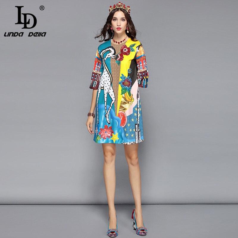 LD LINDA DELLA Piste Designer Robe D'été Femmes de Demi De Douille de Luxe Sequin Animaux Imprimer Casual Lâche Élégante Robe Robes - 3