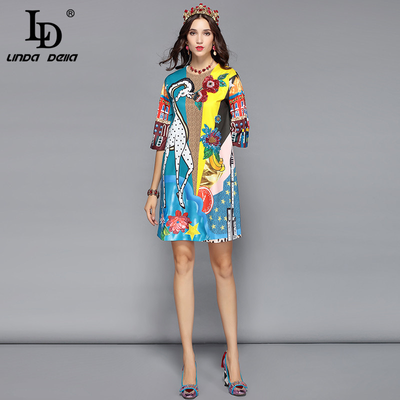 75d90e4d1ce ... LD LINDA DELLA Runway Designer Summer Dress Women s Half Sleeve Luxury  Sequin Animal Print Casual Loose ...