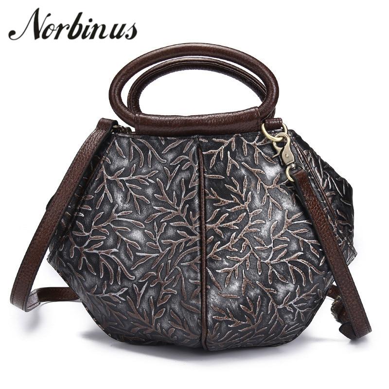 Norbinus Genuine Leather Women Handbag Luxury Shoulder Bag Vintage Crossbody Bag Ladies Real Cowhide Tote Embossed Shell Bag Sac цены онлайн