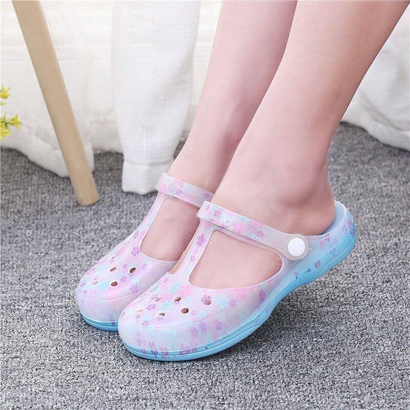 Schuhe 4169g Sommer Neue Druck Loch Loch Schuhe Frauen Sandalen Flache Gelee Hausschuhe Gleitschutz Ms Baotou Kalt Frauen Schuhe