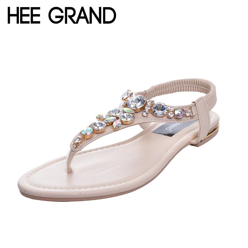 HEE GRAND Rhinestone Fashion Women Sandals 2017 Summer Shoes Elastic Band Crystal Flat With Flip Flops XWZ2031