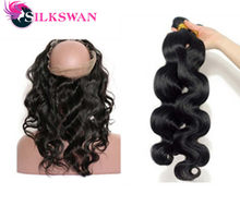 Silkswan Human Hair 360 Lace Frontal With 2 Bundles Indian Body Wave Human Hair Bundles With Frontal Pre Plucked 3 pcs/lot(China)