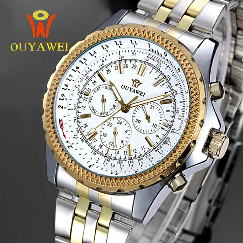 Brand OUYAWEI Mens Luxury Fashion Automatic Mechanical Wrist Watch Stainless Steel Business Watch Relogio Masculino Montre Homme