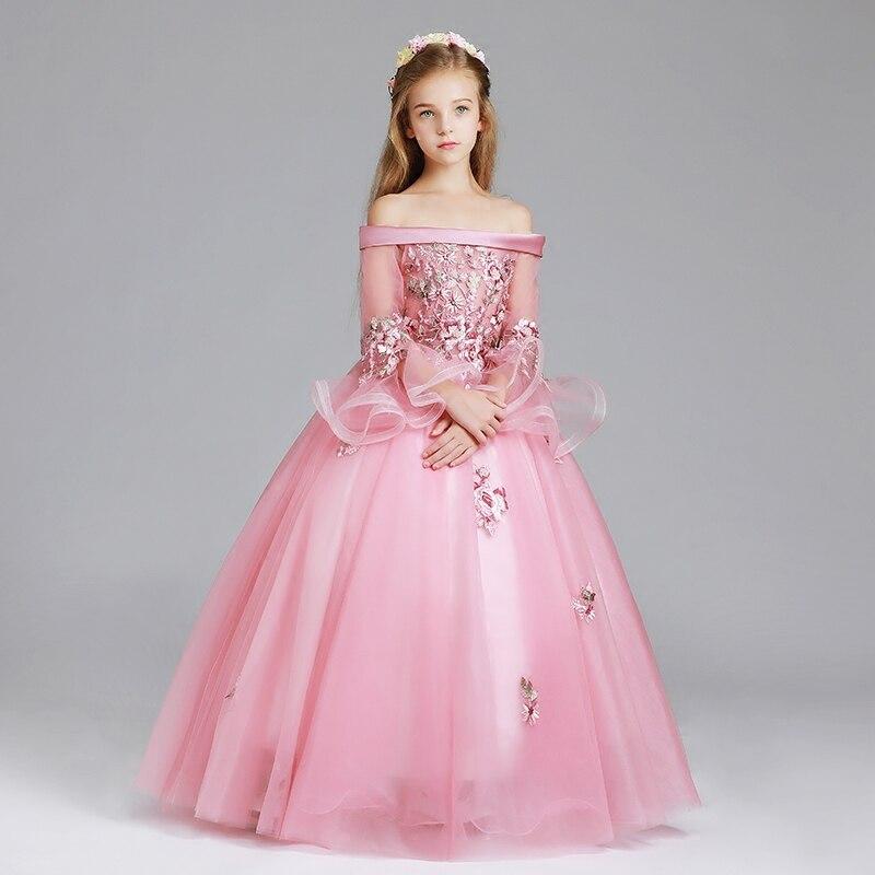 2018Spring New Children Girls Luxury Shoulderless Long Sleeves Birthday Wedding Party Flowers Princess Long Ball Gown Dress Wear 2018 new luxury fashion children girls