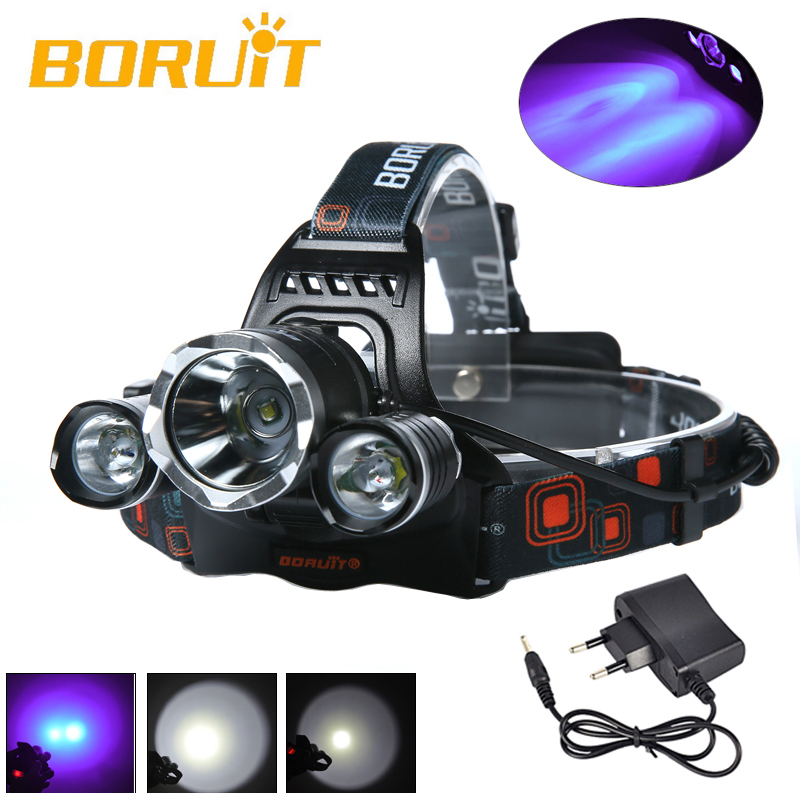BORUIT 5000LM 3x XML T6+2R2 395nm UV Licht LED Stirnlampe KopfLicht EU Ladegerat Camping Fishing Cycling Rock Climbing