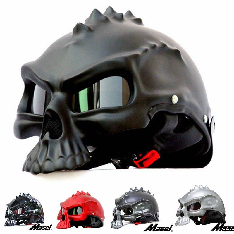 Stock Sale Masei 489 Skull Motorcycle Helmet Half Face Helmet Motorbike Capacetes Casco Retro Casque