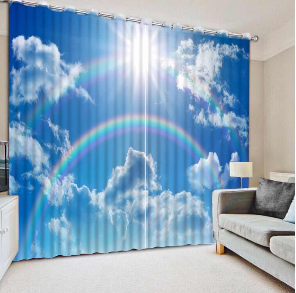 HD rainbow blue sky Window Curtain 3D Curtains For The Bedroom Living room 3D Photo Curtain For Window Home Decoration