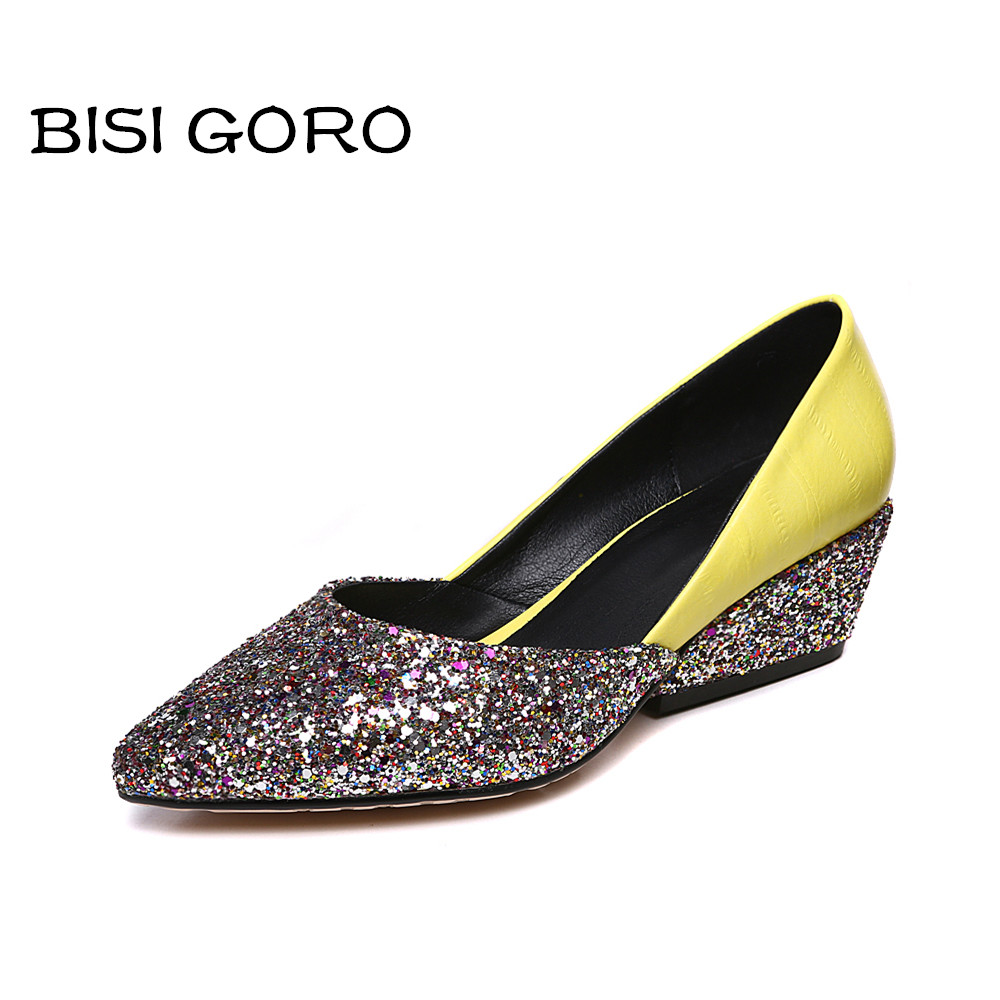 ФОТО BISI GORO women shoes 2017 pointed toe glitter shoes women wedge heels spring summer ladies shoes low heel yellow green shoes