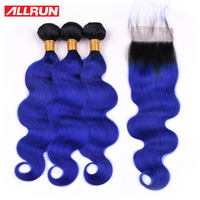 Allrun Pre Colored T1b/Blue Hair Body Wave Bundles With Lace Closure Brazilian Human Hair Bundles With Closure Remy Extensions