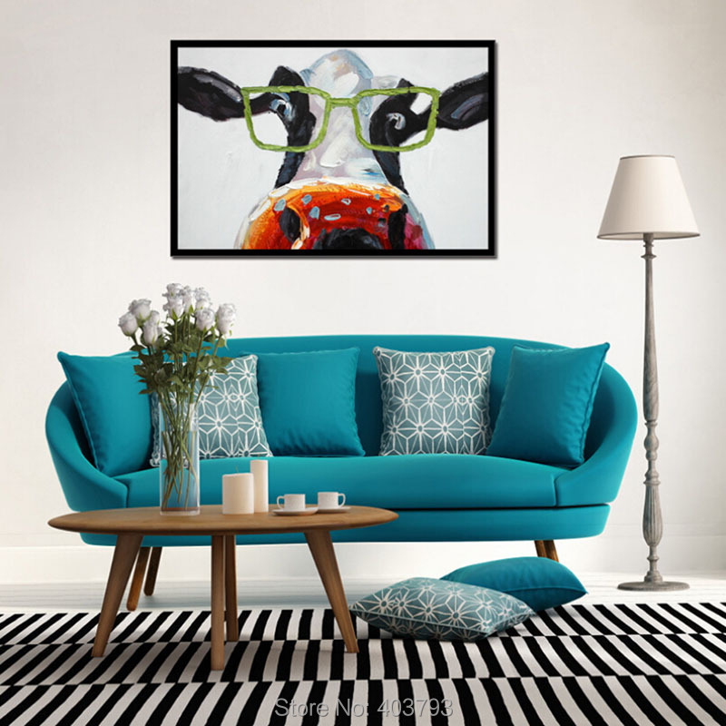 Modern Large Hand Painted Art Modern Oil Painting Abstract The Glasses Of Cattle Picture Wall Decor Canvas No Frame in Painting Calligraphy from Home Garden