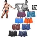 Alta calidad cr7 hombres underwear boxers de algodón negro, azul, orange, liquidación Especial de color azul oscuro