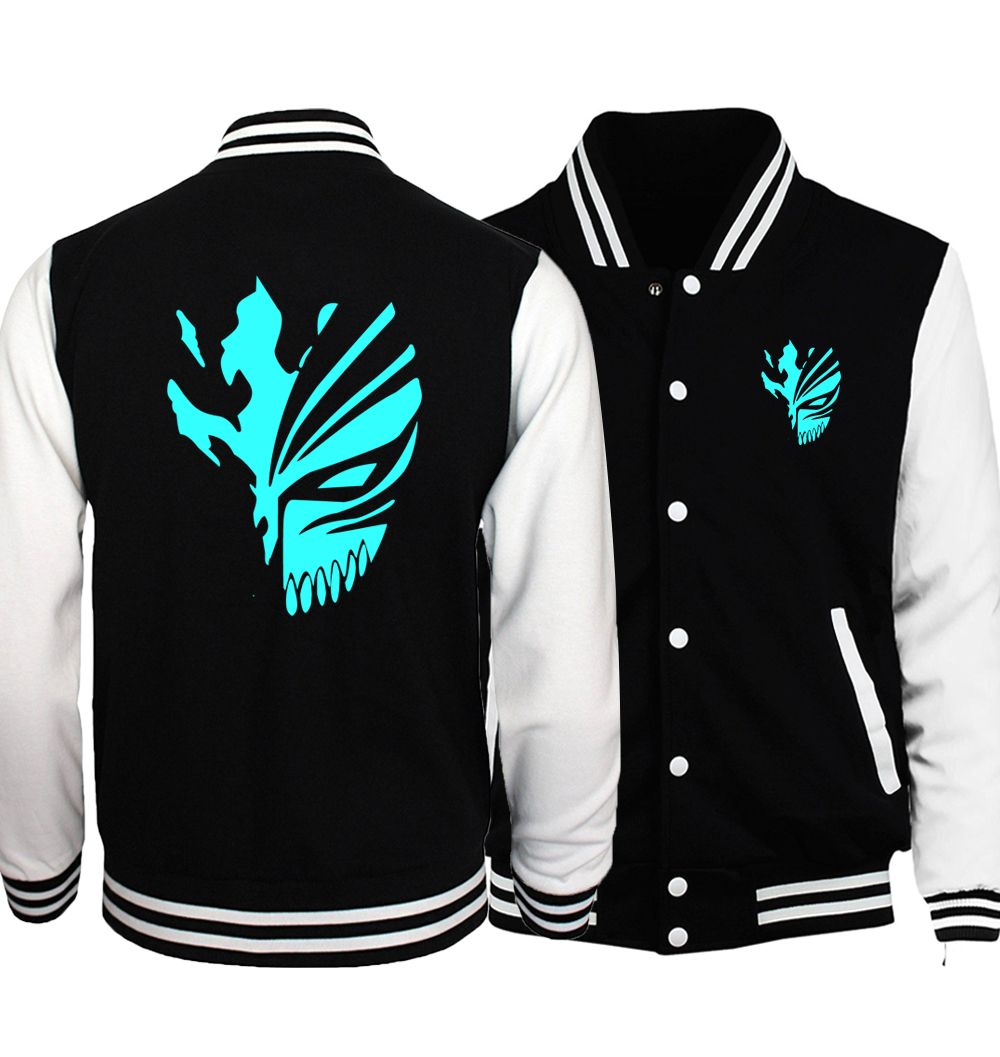 Japanese Anime BLEACH Kurosaki Ichigo Night Lights Baseball Jackets Men Noctilucent Coat Hip Hop Death Note Jacket Hoodies S-5XL