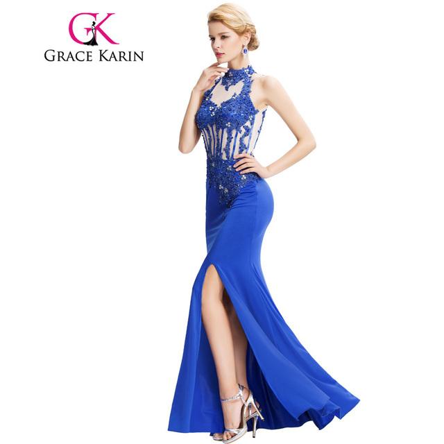 Mermaid Evening Dresses Grace Karin 2017 Backless Halter High-Split Beading Formal Elegant Long Blue Evening Dress GK000050