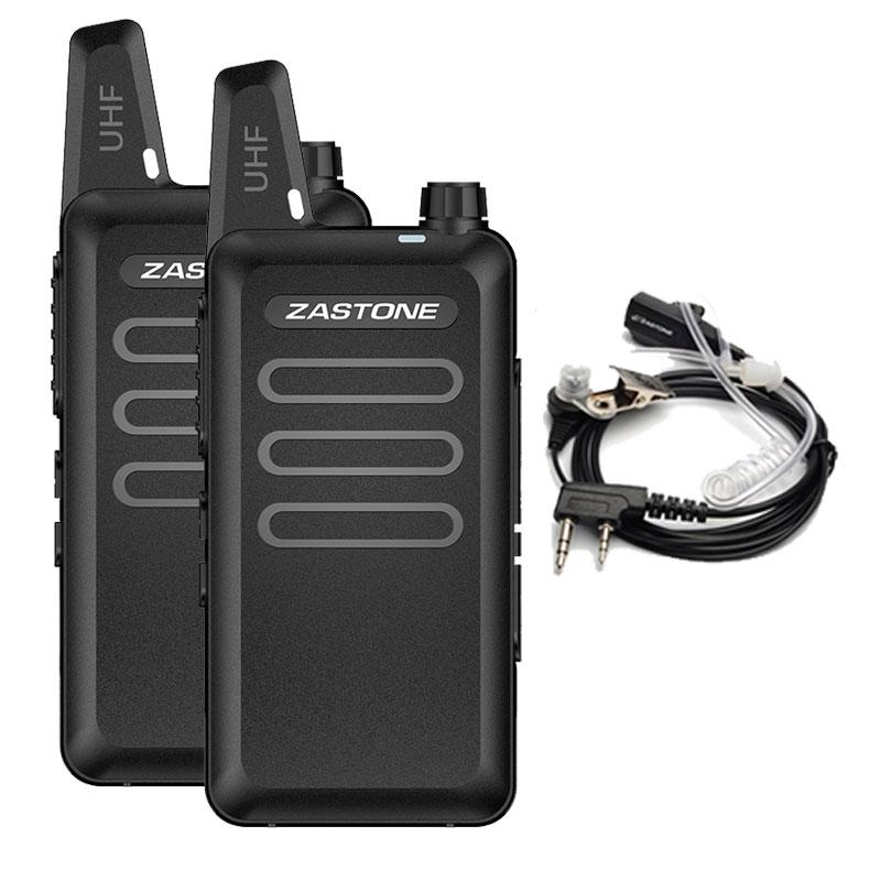 X6 Mini Par Walkie Talkie Zastone Headset Comunicador de Rádio UHF 400-470 Mhz de Freqüência Portátil Handheld Two-Way Rádio amador