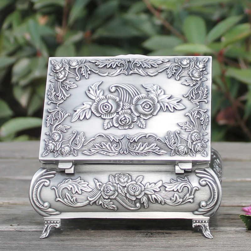 Оловянная металлическая шкатулка для ювелирных изделий, Изящный цветочный узор, украшение для дома, безделушка