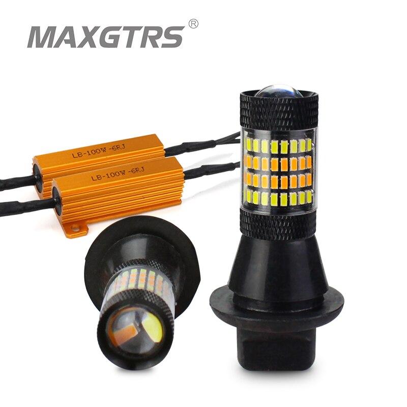 2x T20 7440 W21W 96 SMD 3014 Auto Led Licht Tagfahrlicht Blinker Canbus DRL LED Nebel Externe lichter Alle In Einem