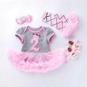 Image 5 - 4PCs pro Set Grau Rosa Nette 1st 2nd Geburtstag Baby Mädchen Tutu Kleid Prinzessin Crown Jumpersuit Stirnband Schuhe Leggins 0 24Months