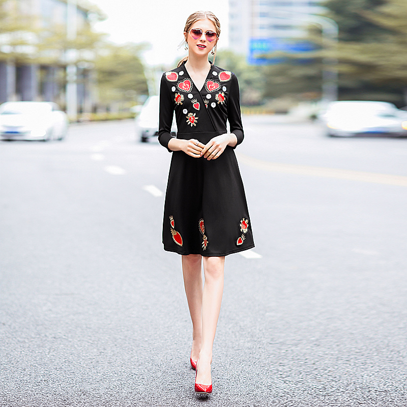 Milan Runway High Quality 2018 Spring Summer New WomenS Party Fashion Star Sexy Office Vintage Elegant Embroidery Black Dresses