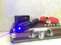Самый мощный 450nm люмен фокус горения Синий лазерная указка Lazer Ручка сжечь бумаги горит сигареты резки + 5 Шапки + коробка