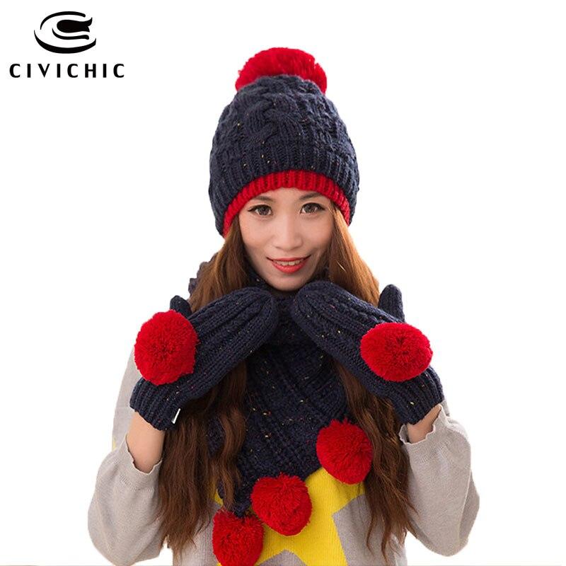 CIVICHIC Winter Women s Knitted Hat Gloves Scarf Warm Set Faux Wool Shawl  Pompon Beanies Skullies Headwear Thicken Mittens SH170 3eddc68e32c