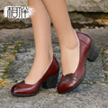 Fashion manual vintage leather women's shoes high heels elegant ladies pointed shoes shallow thick heel